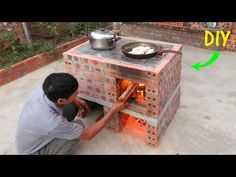 Wow Wow . DIY beautiful and unique outdoor smoke-free wood stove - YouTube Outdoor Stove, Outdoor Kitchen Design, Outdoor Kocher, Parrilla Exterior, Diy Rocket, Fire Pit Grill, Wood Stove Cooking, House Design Pictures, Backyard Fireplace