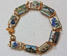 """Vintage Goldtone English Porcelain Scenic Flowers 9-links Bracelet 8"""" England UK #Unbranded #Links"""