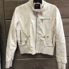 Cream Leather Coat Cream coat, minor wear and tear. Used Condition. Jackets & Coats