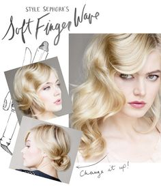 """""""The finger wave is ideal for curly hair,"""" explains veteran hairstylist Cindy Viola (codename """"Twystilox""""), """"but it's a versatile style that works with many hair types."""" For a step-by-step tutorial on these effortless (-looking) waves, we ventured to. Vintage Hairstyles, Pretty Hairstyles, Wedding Hairstyles, Summer Hairstyles, Look Retro, Finger Waves, Finger Curls, My Hairstyle, Hair Serum"""
