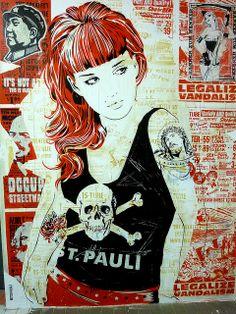 Street art:Artist wall that's located St Pauli, Hamburg Graffiti Artwork, Street Art Graffiti, Mural Art, Illustrations, Illustration Art, Fc St Pauli, Urbane Kunst, Shetland, Urban Street Art