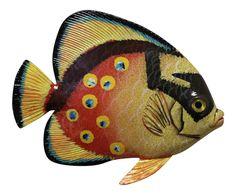 Big 12 Inch Tropical Fish Tiki Sea Life Bath Wall Decor Yellow Orange 12TFW39