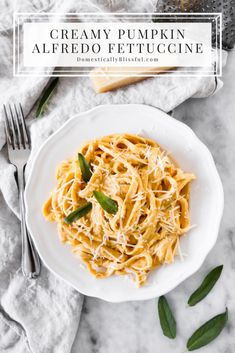 This Creamy Pumpkin Alfredo Fettuccine is a great use for leftover pure pumpkin and is a creamy fall dinner recipe your whole family will love!   Pumpkin Fettuccine recipe for fall dinner.   Fall dinner recipe with a simple pumpkin pasta recipe.   Savory fall recipe for a fall Italian dinner.   Savory pumpkin recipe for an Italian supper.   Vegetarian fall recipe for dinner on the weekdays or weekends.   Easy fall dinner meal made with pumpkin and pasta   Creamy pumpkin fettucini recipe for fall Autumn Pasta Recipes, Pasta Dinner Recipes, Fall Dinner Recipes, Healthy Dinner Recipes, Vegetarian Recipes, Easy Family Meals, Family Recipes, Savory Pumpkin Recipes, Pumpkin Pasta