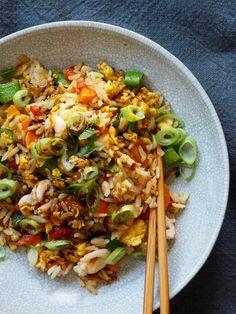 Stekt ris med reker