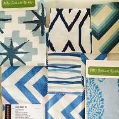 beach house blues fabric swatches. Peter Dunham Starburst, Peter Dunham Kashmir, David Hicks La Fiorentina, Hable Construction. Want a pillow in these? Request a custom listing @ https://www.etsy.com/shop/OpenHouseBeachDesign