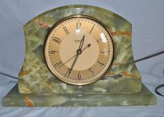 Antique Art Deco Working Electric Clock by Hammond in Black Stone Green Onyx |