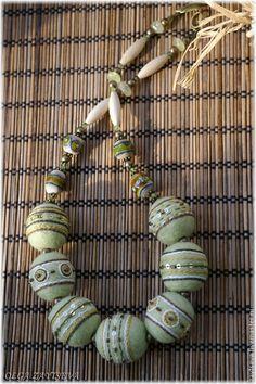 Купить Валяные бусы в этническом стиле. Светло-зеленый. - салатовый, светло-зеленый, бохо украшения