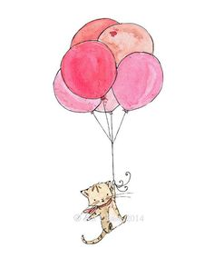 Children's Art -- Kitten Balloons -- Archival Print Tap the link for an awesome selection cat and kitten products for your feline companion! Art And Illustration, Balloon Illustration, Cat Drawing, Painting & Drawing, Lapin Art, Printed Balloons, Pink Balloons, Ballons Roses, Dibujos Cute