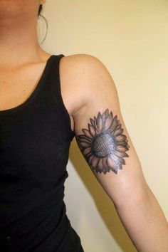 Interest tattoo ideas and design - Grey Ink Sunflower Mandala Tattoo For Back Photo - 1. If you want to make a tattoo, look how it looks from other people!