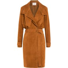 Iro Gitton Suede Trench Coat ($1,260) ❤ liked on Polyvore featuring outerwear, coats, jackets, coats & jackets, beige, oversized trench coat, brown trench coat, trench coat, oversized coat and brown coat