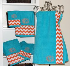 Monogrammed Chevron Bath Wrap and Towel Set on Etsy, $80.00