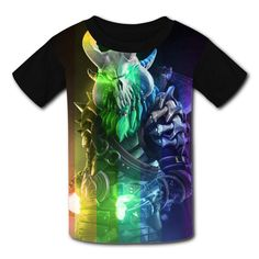 Kids//Youth Abstract Laser Skull Comfortable T-Shirts Short Sleeve Children Tees Funny Creative