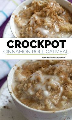 If you love Cinnamon Rolls this is the next best thing! You have to try this AMAZING Crockpot Cinnamon Roll Oatmeal Recipe! #crockpot #slowcooker #oatmeal #glutenfree #breakfast