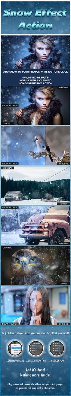 Snow Effect Action - Photo Effects Actions . - Snow Effect Action - Photo Effects Actions Photoshop Photos, Photoshop Design, Photoshop Elements, Photoshop Tutorial, Effects Photoshop, Photoshop Actions, Lightroom, Photoshop Presets, Free Photoshop
