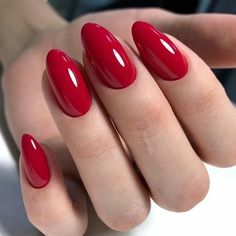Red Gel Nails, Red Acrylic Nails, Almond Nails Red, Gradient Nails, Classic Nails, Nagellack Trends, Rainbow Nails, Elegant Nails, Nagel Gel