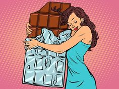 Điều gì xảy ra với cơ thể khi bạn ăn socola đen Chocolate Drawing, Dark Chocolate Benefits, Desenho Pop Art, Comic Art, Comic Books, Pop Art Women, Retro Vector, Woman Illustration, Caricatures