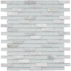 Bathroom tile? @Overstock - Remodel your home with this translucent glass tile for your kitchen, bath or backsplash. This wall tile comes in tones of white and green.  http://www.overstock.com/Home-Garden/SomerTile-12x12-in-Reflections-Subway-5-8x2-in-Ming-Glass-Stone-Mosaic-Tile-Pack-of-10/5318587/product.html?CID=214117 $153.99