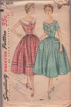Simplicity 4641 Vintage 50's Sewing Pattern BEAUTIFUL Petite Rockabilly Scoop Neck Full Flared Skirt Shirtwaist Day or Evening Party Dress, 2 Styles #MOMSPatterns