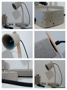 Lámpara de Escritorio en cemento y madera arqueada con cable forrado en tela y lámpara G9. Interruptor tipo perilla con base de cemento