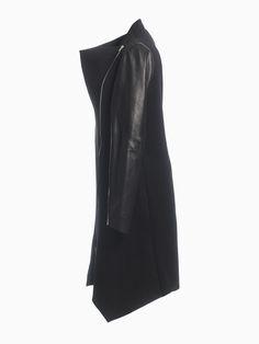 Long Jacket With Leather Sleeves Leather Sleeves, Leather Jacket, Long Jackets, Hana, Spring Summer, Fashion, Studded Leather Jacket, Moda, Fashion Styles