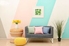 Interior of light modern room with creative furniture and floral decor Outdoor Sofa, Outdoor Furniture, Outdoor Decor, Striped Hallway, Lounge, Home Studio, Modern Room, Modern Lighting, Toddler Bed