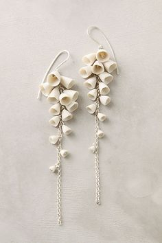 Lily-Of-The-Valley Drops (graduated porcelain cones on a silver chain)