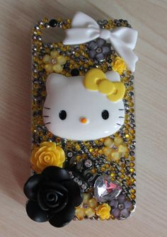 Iphone 4 Hello kitty Yellow decoden case by HarukoAndHarumi