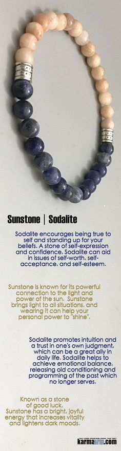 #BEADED #Yoga #BRACELETS ♛ Known as a stone of good luck, #Sunstone has a bright, joyful energy that increases vitality and lightens dark moods. #Blue #Sodalite #Chakra #gifts #Stretch #Womens #jewelry #Tony #Robbins #Eckhart #Tolle #Crystals #Energy #gi http://kundaliniyogameditation.com/