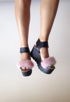 SISI Baby Pink Faux Fur Platforms from romy LDN
