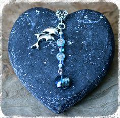 Dolphin Joy Ocean Swirl Aqua Aura and Blue by MysticMermaidCove