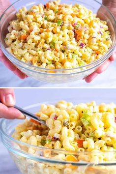 How to make the best macaroni pasta salad with an easy creamy dressing and crisp colorful vegetables. How to make the best macaroni pasta salad with an easy creamy dressing and crisp colorful vegetables. Macaroni Pasta Salad, Creamy Pasta Salads, Pasta Salad Recipes, Simple Macaroni Salad, Top Recipes, Dinner Recipes, Cooking Recipes, Picnic Recipes, Cooking Ideas