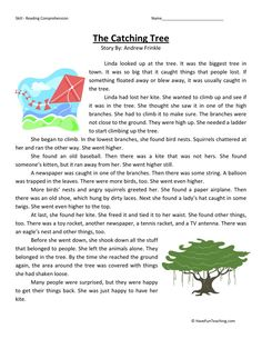 This Reading Comprehension Worksheet - The Catching Tree is for teaching reading comprehension. Use this reading comprehension story to teach reading comprehension. 2nd Grade Reading Comprehension, Picture Comprehension, Third Grade Reading, Reading Fluency, Reading Passages, English Story, Kids English, English Grammar, English Language