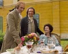 Thomas Jefferson (Stephen Dillane), John Adams (Paul Giamatti), and Abigail Adams (Laura Linney). The Johh Adams Miniseries