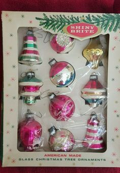 VINTAGE CHRISTMAS TREE GLASS PINK SHINY BRITE ORNAMENTS ORIGINAL BOX GORGEOUS