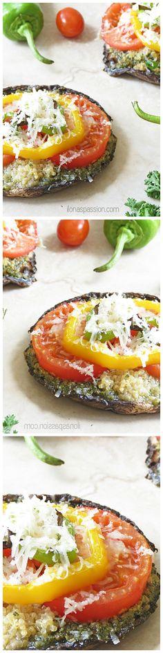 Vegetarian Portobello Pizza with quinoa, pesto and seasonal veggies. Perfect for meatless Mondays or party gathering!