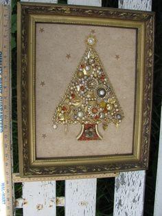 Framed Jewelry Christmas Tree Handmade Junk door TheIDconnection