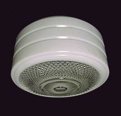 """Art Deco 8"""" Clear and White Glass Utility Ceiling Light Shade. Ideal for Kitchen, Bath, Porch or Work Area Flush Mount Ceiling Fixture. Bathroom Light Shades, Ceiling Light Shades, Lamp Light, Bathroom Lighting, Ceiling Lights, Ceiling Fixtures, Light Fixtures, Contemporary Lamps, Flush Mount Ceiling"""