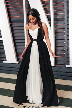 Vanity Fair Oscar Party 2015 - Zoe Saldana in Prabal Gurung