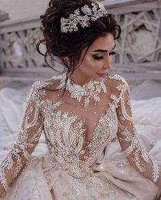 Custom Wedding Dresses and Bridal Gowns from The USA This beaded long sleeve bridal gown has tons of bling. We are US dressmakers who specialize in cust Princess Wedding Dresses, Dream Wedding Dresses, Bridal Dresses, Wedding Gowns, Dresses For 15, Sexy Dresses, Wedding Venues, Summer Dresses, Custom Wedding Dress