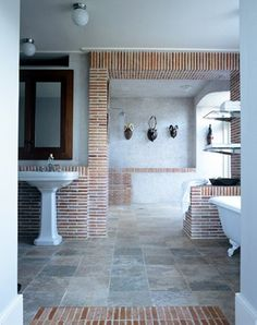 The lanes ceramic klompie colouring just works so beautifully. The white grouting really offsets the terracotta colour wonderfully Brick, Beautiful Architecture, Home, Interior, New Homes, Beautiful Bathrooms, Wood Decor, House, Concrete Floors