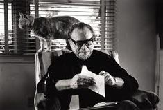 Charles Bukowski with his cat