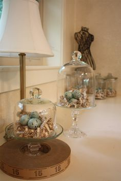 Glass cloches + vintage ticket roll