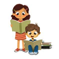 Ilustração de um menino e menina lendo um livro - ilustração de arte em vetor