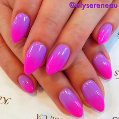 get a makeup sponge, apply the nail polishes one ontop of the other (not blended in, seperate) press sponge on nails and repeat steps till the colors are opaque, and apply your top coat. VOILA! they're called Ombre Nails.(:
