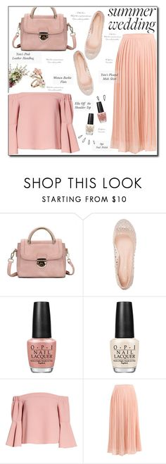 """Summer Wedding"" by selena-gomezlover ❤ liked on Polyvore featuring Lauren Lorraine, OPI, Old Navy, Topshop, Accessorize, summerwedding, PeachandWhite and summer2017"