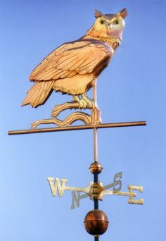 Great Horned Owl Weather Vane by West Coast Weather Vanes.  The Great Horned Owl was our first owl weathervane design. The most popular way we make them is to add optional gold leaf to the facial markings, neck band and legs. The parts that we gild will stay a light golden color as the rest of the weathervane patinas, first a deep chocolate brown and then eventually that distinctive turquoise green for which copper is known.