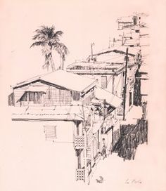 The brilliant Bernie Fuchs sketched these buildings in the slums of San Juan. Fuchs seems to have a god-given talent for finding the design in any situation, including this row of squat, ramshackle buildings.
