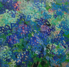 ARTFINDER: Thinking about blue flowers by Lilia Orlova-Holmes - Abstract painting inspired by hydrangea in my garden.
