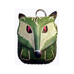 Anipals - Green Wolf Change Purse - Wolf Gift Zippered Wallet - Leather - Item# 1258. Thick high quality hand tooled REAL GENUINE leather. Zipper closure. Wrist strap. No Lining. Hand made leather craft.