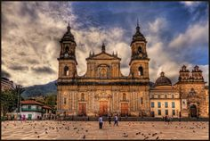This is the Cathedral Primed, the main Cathedral in Bogota, Colombia, called Catedral Primada. It is in the East side of the Plaza de Bolivar. Cities In South America, Latin America, America Latina, Architecture Baroque, Colombia Travel, Best Cities, Natural Wonders, Barcelona Cathedral, Travel Inspiration